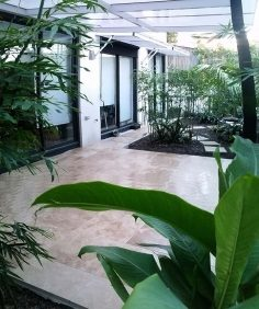 Paving – travertine outdoor space, Northern Beaches