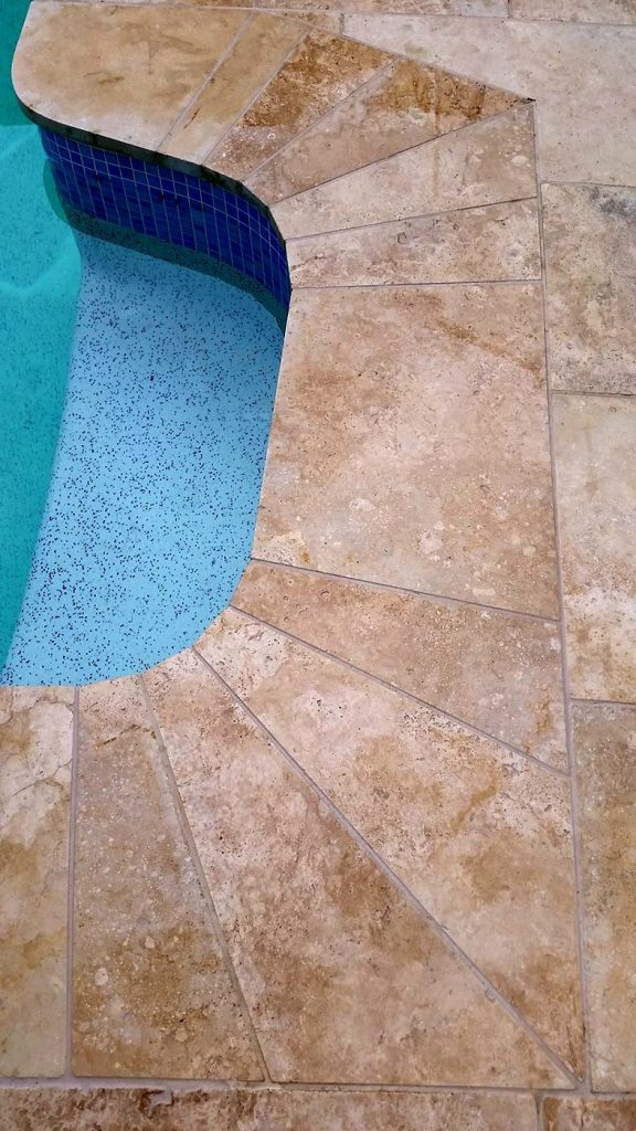 Stone pool coping for step